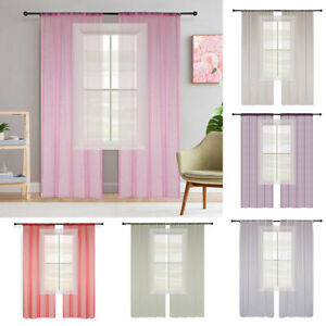 Solid Color Sheer Curtain Organza Voile Tulle Window Curtain Drape 100*130/200cm