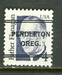 Pendleton OR 243 DLE precancel on 4 cent Father Flanagan Great American