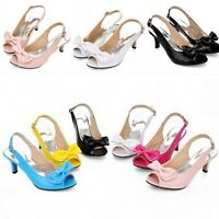 New Womens Peep Toe Kitten Heels Patent Leather Bow Knot Slingback Shoes Sandals