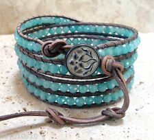 Natural Amazonite Faceted 4mm Gemstone Handmade Beaded Leather 4 Wrap Bracelet