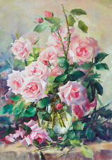 Botanical Rose Pink Painting Flowers Shabby Chic Provincial Canvas Print