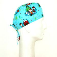 Peanuts Gang  Christmas theme on Sky Blue Scrub Hat