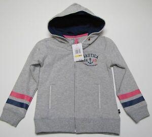 NWT Nautica Gray Zip Up Hoodie Hooded Sweatshirt Girls Medium M 5 $47.50