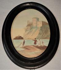 tableau ancien - très jolie aquarelle miniature - paysage napolitain