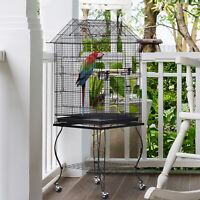 PawHut Large Metal Bird Cage Aviary Parrot Budgie Canary Pet With Stand&Wheels