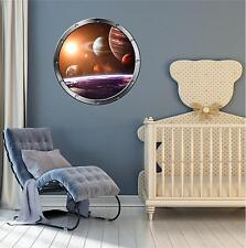 """24"""" Porthole Space Ship Window SOLAR SYSTEM #1 ROUND Wall Sticker Decal Graphic"""