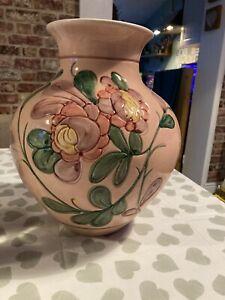 Vintage Large Bulb Vase - Floral Pink - Retro - sgraffito