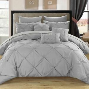 Twin Queen King Bed Bag Silver Gray Grey Pintuck Pleated 10 pc Comforter Set