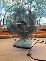 "Vintage General Electric GE 10"" Blades Turquoise Fan Metal Original Desk Works"