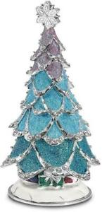 Bejeweled ARCTIC BLUE Christmas Tree Trinket Box