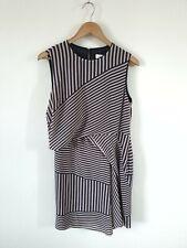 REISS STRIPED ASYMMETRIC CHIFFON DRESS SIZE 14