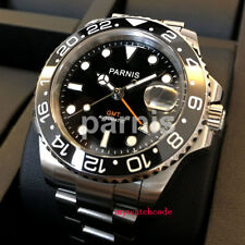 40mm Parnis black dial Sapphire glass date Ceramic GMT automatic mens watch 338B
