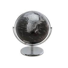"10"" 2 Tone Revolving World Globe Table Top Black & Silver Modern Style New"