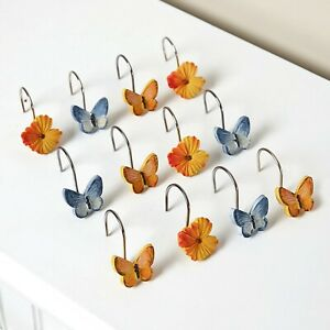 Set of 12 Watercolor Floral Shower Curtain Hooks Butterfly Spring Bathroom Decor