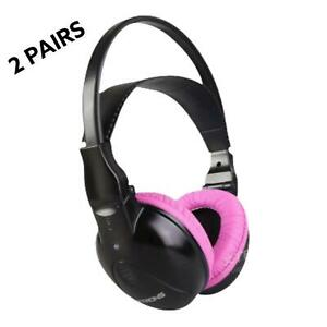 2  XTRONS  Wireless Pink Kid Dual Channels Stereo Headphones For Car DVD Player