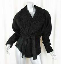 JEAN CLAUDE JITROIS Womens VINTAGE Black Suede Leather Astrakhan Jacket Coat M