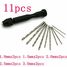 11PCS Precision Mini Hand Drill Chuck Micro Twist Drill Bits Rotary Tools New