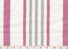 Pink Grey Stripe Braemore Textiles 100% Linen Upholstery Fabric Hugo Cl Flamingo
