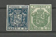 ESPAÑA AÑO 1854 ESCUDOS  DE ESPAÑA. MUY CENTRADOS.. REIMPRESION. de lujo..