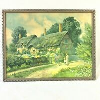 T NOEL SMITH GILT FRAMED OFFSET LITHOGRAPH PRINT ANNE HATHAWAY COTTAGE GP 1822