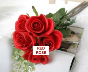 Latex Real Touch Flowers Bouquets Red Rose Wedding Bouquet 9 Heads High Quality