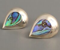 VINTAGE Sterling Silver Signed.925 Tear Drop Abalone Inlay Clip On Earrings