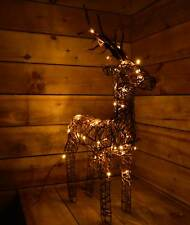 60cm Tall Outdoor / Indoor Brown Wicker Reindeer with 48 Warm White LED Lights