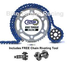Harley 1200 Sportster Belt Drive (Con) 89-99 AFAM Blue Chain & Sprocket Kit+Tool