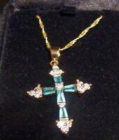 Beautiful Blue Glass & Clear Rhinestones Religious Cross Bartikowsky Jewelers
