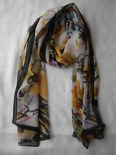 Brand New Flower Printing Design Scarf Wrap Black & Gold