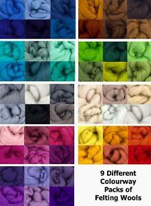 Merino Felting Wool.  Needle Felting | Wet Felting ! Colour Packs of 6-min 36gms
