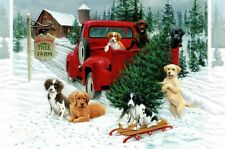 16 Embossed Boxed Christmas Cards Pick-Up Puppies