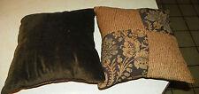 Pair of Brown Gold Taupe Decorative Print Throw Pillows 17 x 17
