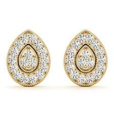 NEW LARGE 14K YELLOW GOLD DIAMOND TEAR DROP PEAR SHAPED CLUSTER POST EARRINGS