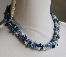 "BLUE AVENTURINE LONG LINE NECKLACE 35"" LENGTH ~ STERLING SILVER TOGGLE CLASP"