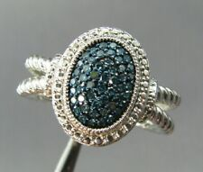 STERLING SILVER Stunning BLUE DIAMOND 1/2CT PAVE RING Oval Setting DOUBLE ROPE 8