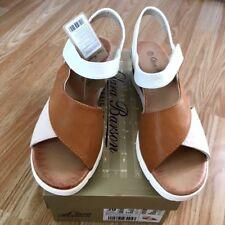 Plataforma de cuña de mujer Gladiador tan Slip mula Sling Sandalia toque fijar tamaño de zapato