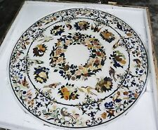 """30"""" Marble Rare Coffee Dining Table Top Grand Pietre Dure Marquetry Royal Decor"""