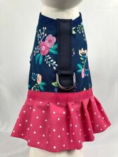 Navy And Pink Floral Dog Harness Vest Dress With Ruffle Skirt
