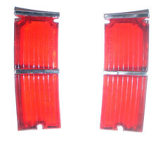 1966 El Camino Tail Light Lamp Lens w/ Stainless Steel Trim Pair New