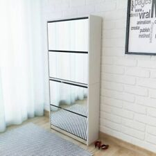 vidaXL Shoe Cabinet 4-Layer Mirror White 63x17x134cm Organiser Rack Stand