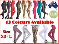 Womens Faux Leather High Waist Leggings Pants Legging Black XS-L Colours Print