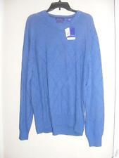 NWT $85 ALAN FLUSSER Blue heather argyle cashmere v-neck golf SWEATER XXL 2XL