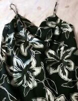TABLE EIGHT BLACK AND SILVER FLORAL SLIP DRESS COWL NECK SIZE 10.