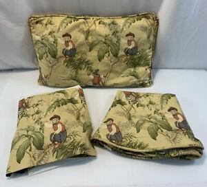 Vintage Twin Bombay Monkey Sham Bedskirt Tablecloth Linen Custom Made 3 Pc