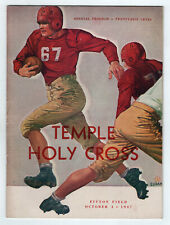 1947 TEMPLE Holy Cross NCAA College Football Program WWII Worcester OWLS Mass MA