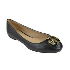 NIB Tory Burch Claire Reva Leather Ballet Flats Black/ Gold 7.5