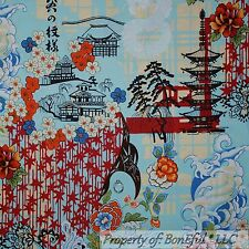 BonEful FABRIC FQ Cotton Quilt Blue Flower Tree Asian Koto House Chinese Dragon