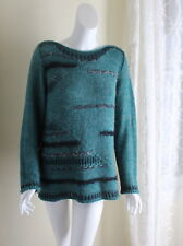 Skovhuus -Sz XL Art-to-Wear Teal Funky Italy Mohair Jewel Modernist Art Sweater