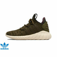 LADIES WOMEN ADIDAS TRAINERS ORIGINAL  SHOES OLIVE GREEN KNIT LACE UP TUBULAR